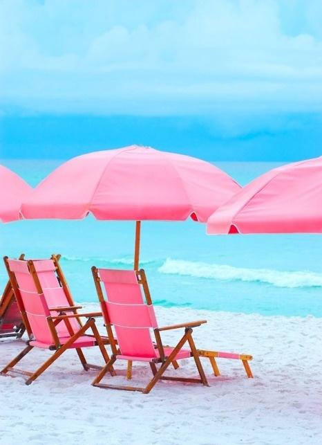 pink summer: Pink Summer, At The Beaches, Beaches Umbrellas, Summer Beaches, Beaches Chairs, Pink Beaches, The Ocean, Pink Chairs, Pink Umbrellas
