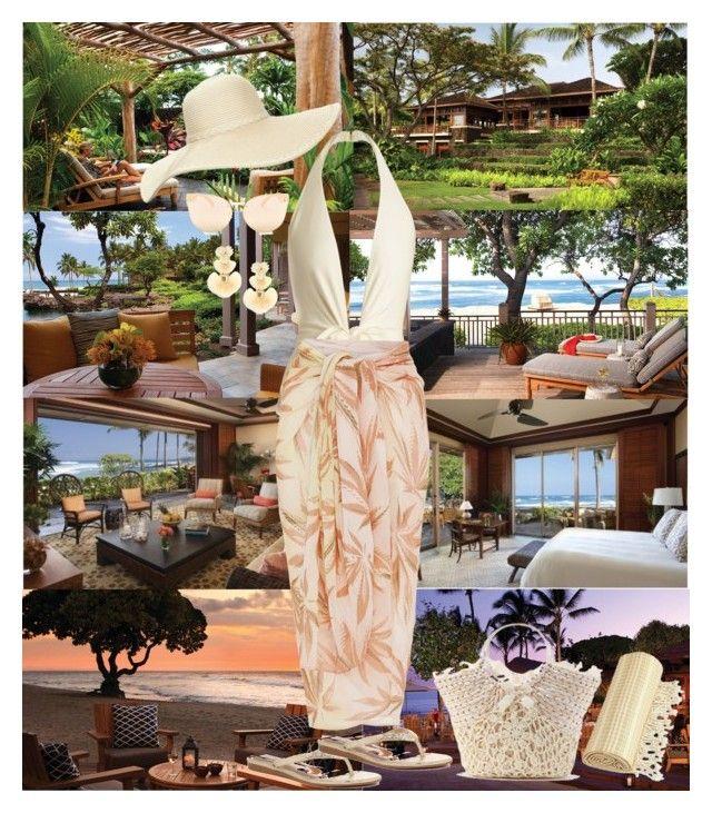 """Four Seasons Resort Hualalai at Historic Ka'upulehu, Kailua-Kona, Hawaii"" by horcal ❤ liked on Polyvore featuring ADRIANA DEGREAS, WithChic, Linum Home Textiles, Lele Sadoughi, Quay, Reger by Janet Reger, Badgley Mischka and A Peace Treaty"