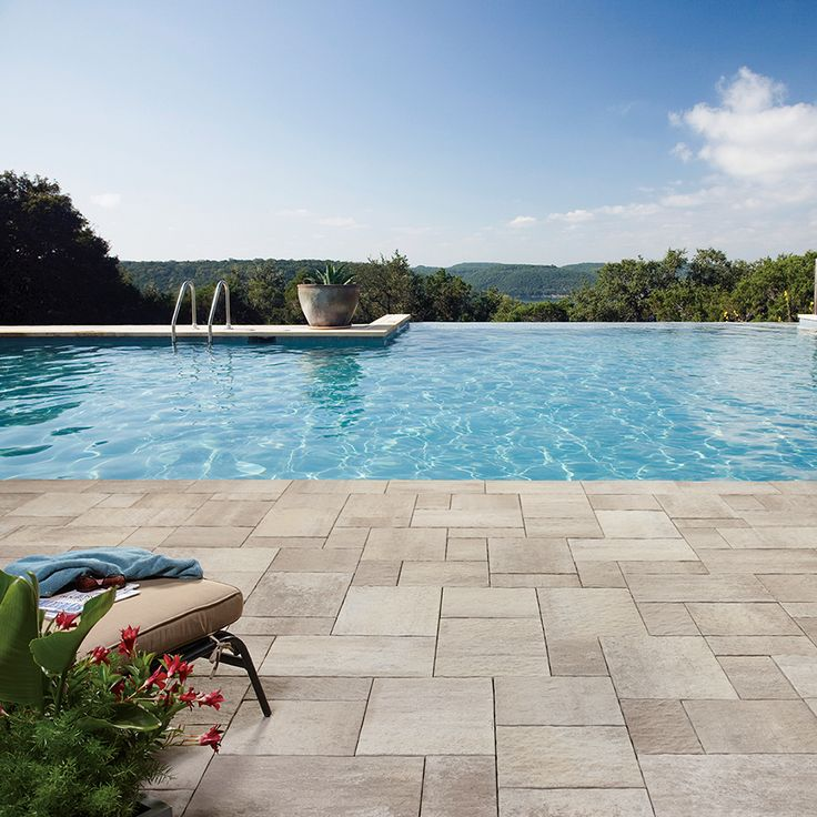 Poolside landscape. Project application using Rialto pavers. Color: Rialto Milano by Oaks Landscape Products.