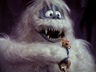 I have been terrified of the Abominable Snowman/Bumble since I first saw him on Rudolph when I was about 3-4 yrs old!!  His eyes are all scary!!