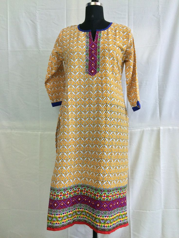 Yellow half sleeves printed cotton kurti