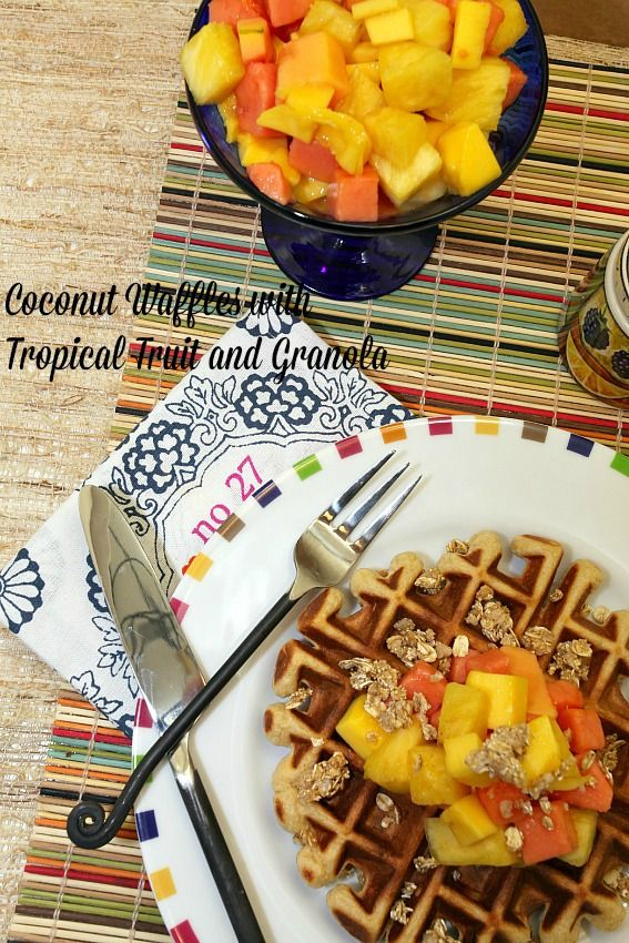 Healthy, Low Calorie, Low Fat, Breakfast Coconut Waffles with Tropical Fruit and Granola www.fooddonelight.com