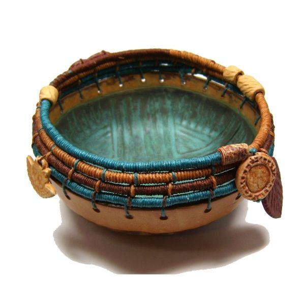 Clay bottom glazed interior, Linen Coiled Top accent and clay beads