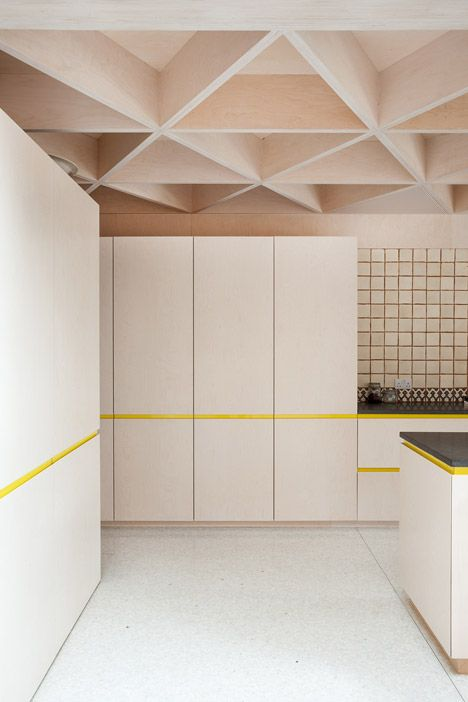 Scale of Ply | NOJI Architects Love the ceiling and the yellow cupboard trim!