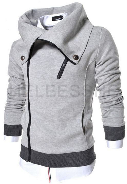 Supersized Collar Hoodie In Light Grey