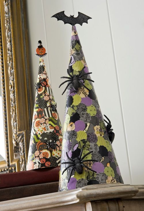Decorate craft store cones with small circles punched out from Halloween scrapbook paper