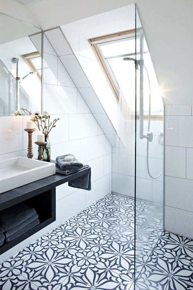 patterned tile for the bathroom floor, skylight, floating vanity