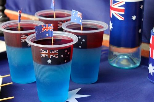 Cute Layered Jelly cups, perfect for Australia Day
