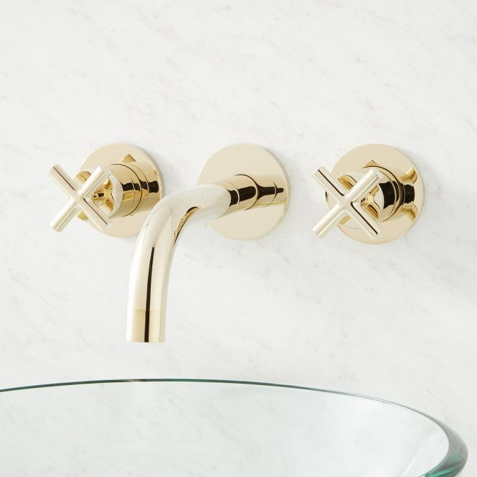 Exira Wall Mount Lavatory Faucet With Cross Handles