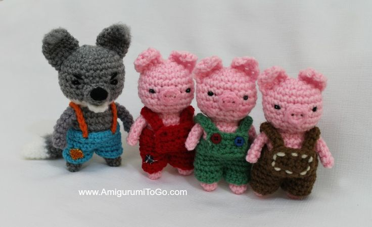 The patterns for the wolf and the pigs are now all available. Free! Big Bad Wolf ~  here  Pants for wolf ~  here  Three Little Pigs ~  he...