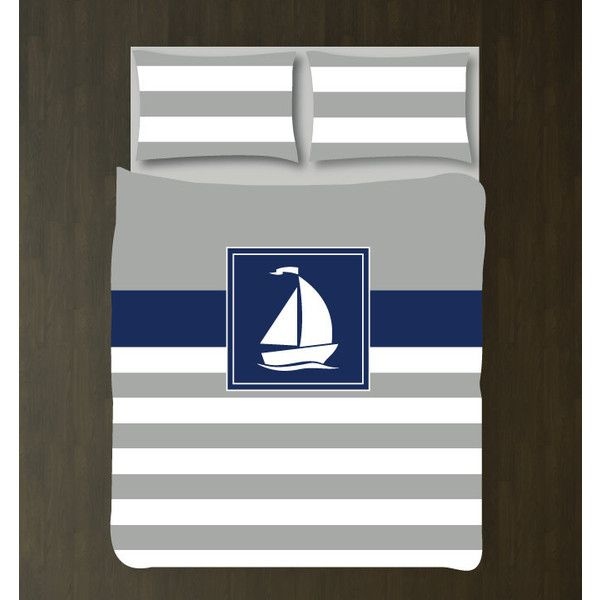 Nautical Duvet Cover w/shams-sailboat-custom Bedding Set-Navy Grey and... ($117) ❤ liked on Polyvore featuring home, bed & bath, bedding, duvet covers, home & living, silver, twin xl duvet, extra long twin bed set, king size bedding ensembles and king size bed sets