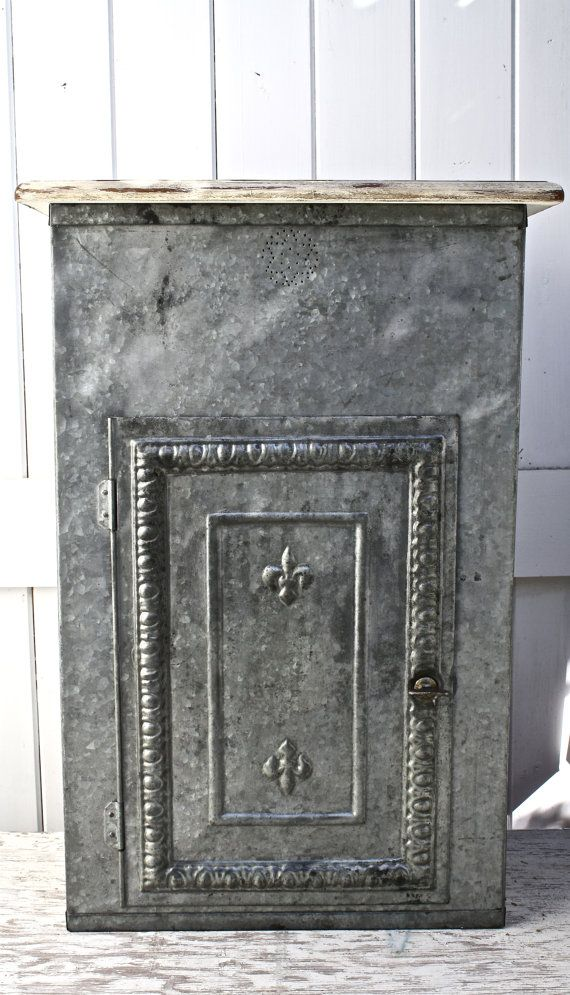 Up-cycled hand painted and distressed repurposed galvanized metal pie safe. Fluer de lis Paris.