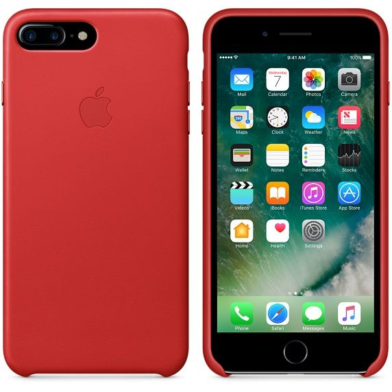 Jet black iPhone 7 plus with product red silicon case