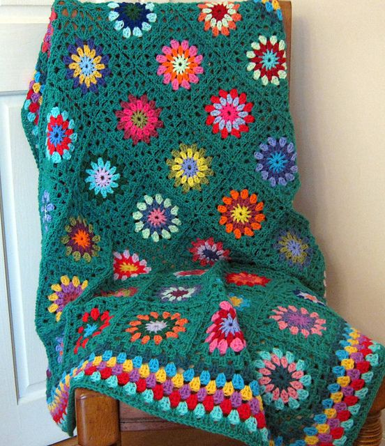 Ravelry: TheSunroom's Jade Floral Granny Square Blanket Afghan