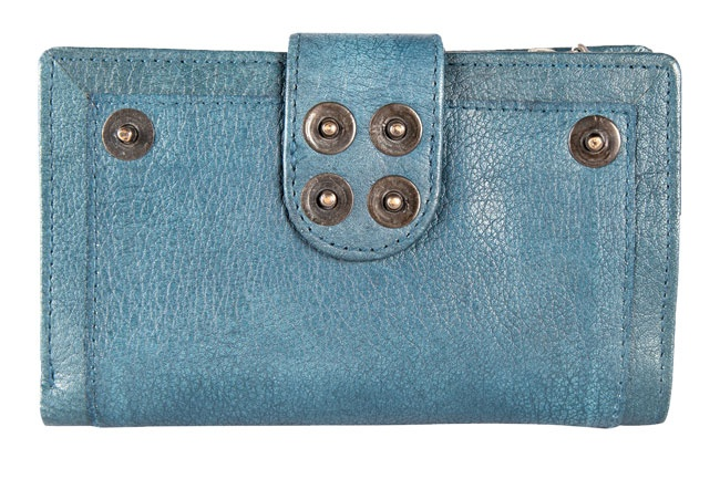 Leather Bi-fold medium wallet with metal rivet detail and flap-over closure. Wallets from Fastrack http://www.fastrack.in/product/c0337lbl01/?filter=yes=india=9=4&_=1334231927426