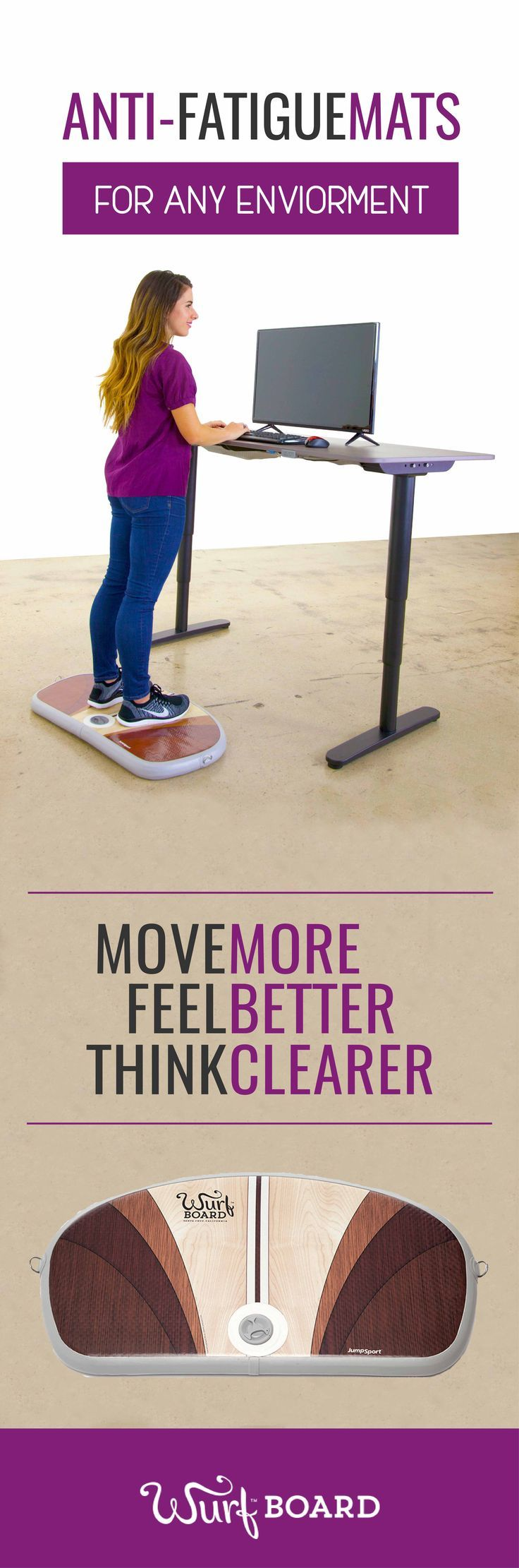 Burn calories at work with the Wurf Board anti fatigue mat for standing desks! Wurf is a highly supportive, lively, air-spring surface that encourages standing desk users to make continuous micro movements, which improves blood-flow so you can stand comfortably much longer. These subtle movements improve posture; strengthen feet, legs, core, and back; and raise alertness, focus, and productivity. Who doesn't want that throughout their workday? Learn more at: www.wurf.com/