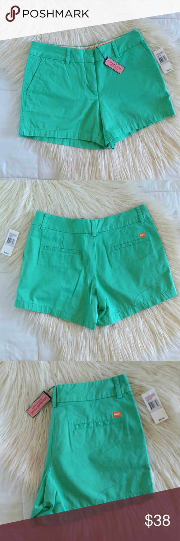 NWT Vineyard Vines Chino Mint Green Shorts Brand new Vineyard Vines mint green chino shorts. Super cute with pockets in front and faux pockets in back. Orange seashell designs inside. Waist measures 15' flat across. Length is 14'.   Excellent condition, new with tags.  Open to offers. No trades. No modeling. Vineyard Vines Shorts