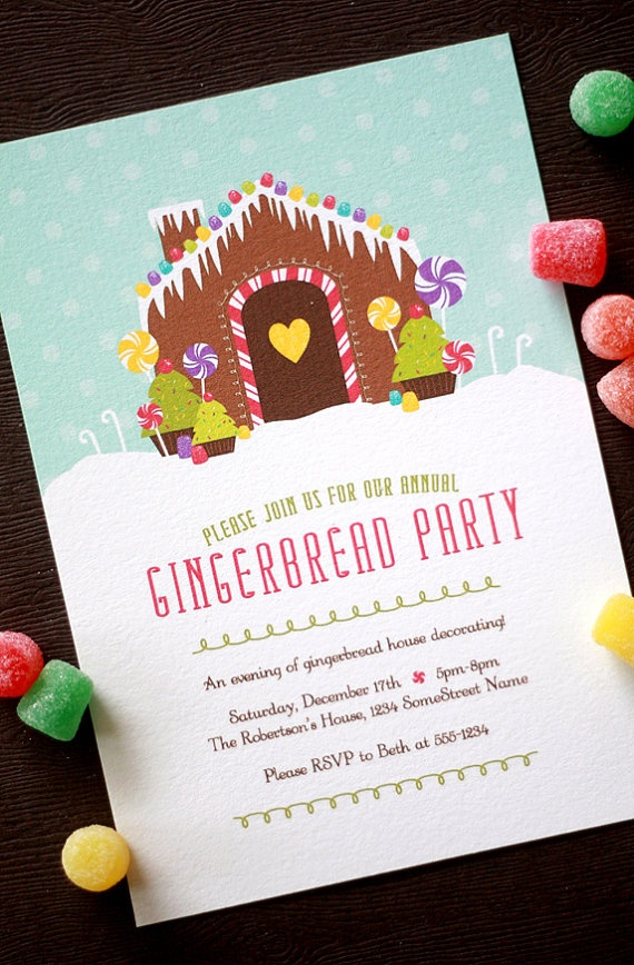 company christmas party invitation templates%0A  Bethany Shoda Kraicinski Pierce gingerbread house party this year for the  kids