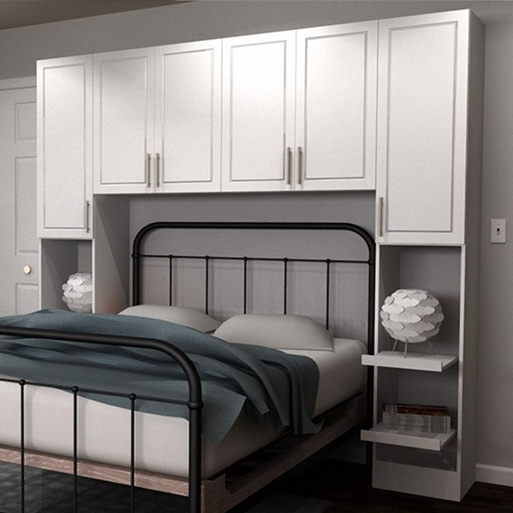 madison full size bed surround melamine cabinets in white