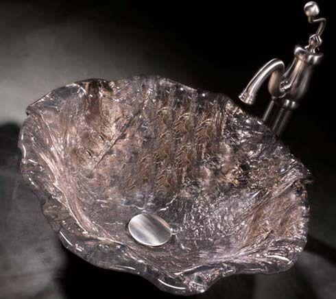 JSG Oceana 005 012 500 Glass Alina Art Vessel Sinks   Platinum   Wave