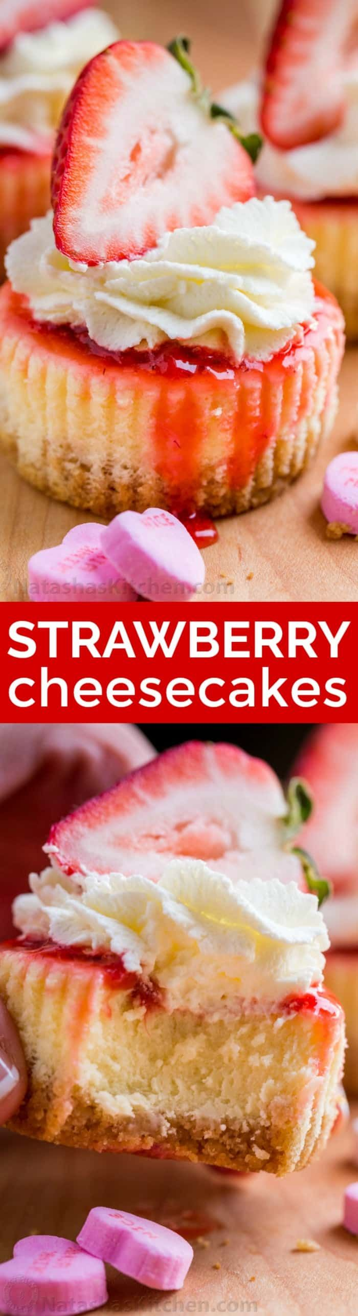 Mini strawberry cheesecakes are easy to make with simple ingredients. The texture in this strawberry cheesecake recipe is is creamy and smooth with a buttery crust. The fresh strawberry topping is irresistible. Valentine's Day Dessert! | natashaskitchen.com #minicheesecakes #strawberrycheesecake #cheesecake