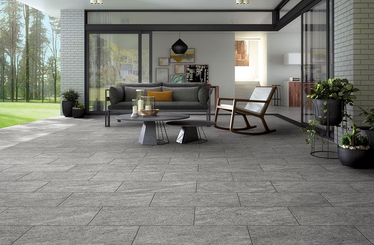 Outdoor lounge area. Tiles from Na.me collection by Mirage.