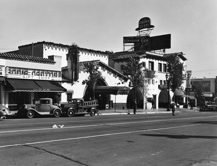 The Brown Derby on Vine. Of the four Brown Derby restaurants in Los Angeles, this one was considered the Hollywood landmark. It closed on April 3, 1985. [Photo from LA Public Library]