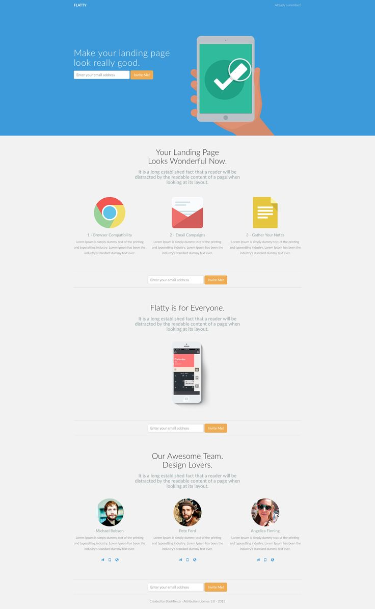 Flatty is a free flat responsive HTML5 Bootstrap landing page website template for application websites. Flatty template is fully responsive and based on the popular Bootstrap framework.