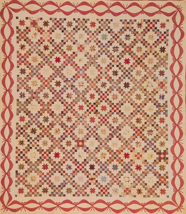 Recreating Antique Quilts Project Highlight #2: Re-interpreting Mrs. Miles' Double Irish Chain with Sawtooth Star Quilt |