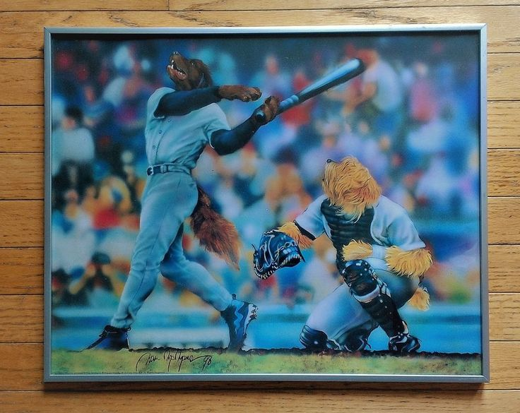 Dogs Playing Baseball Framed Poster Print 16 x 20 Dan McManus Sports Man Cave