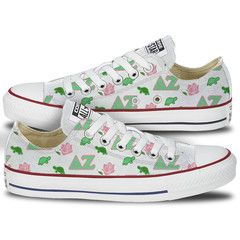Delta Zeta Converse - This pair of classic oxford sneakers features a fun pattern which combines the Delta Zeta Letters, turtles and roses to cover the entire canvas of the shoe. These custom Delta Ze