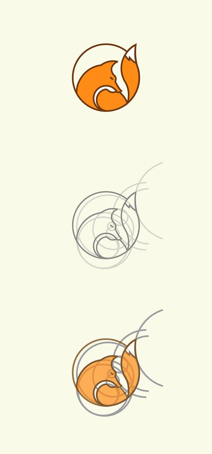 Fox logo construction by Rene Agudelo | Check out more of his work on behance.net/rene_agudelo