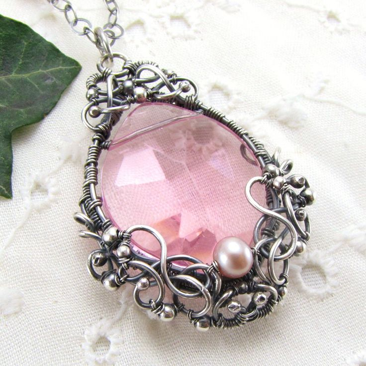 Sterling Silver Pink Crystal Pearl Pendant Necklace Handmade Wire Wrapped Jewelry. $193.00, via Etsy.