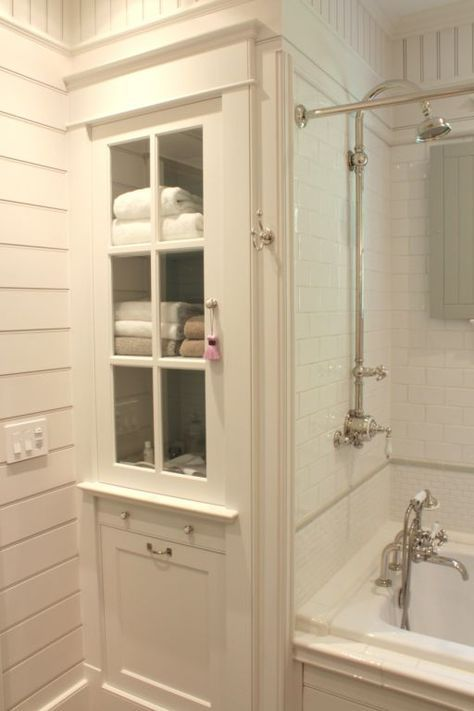 bathroom linen closet. Bathroom linen cabinet and tub surround with white subway tile  The Inn at Little Best 25 ideas on Pinterest