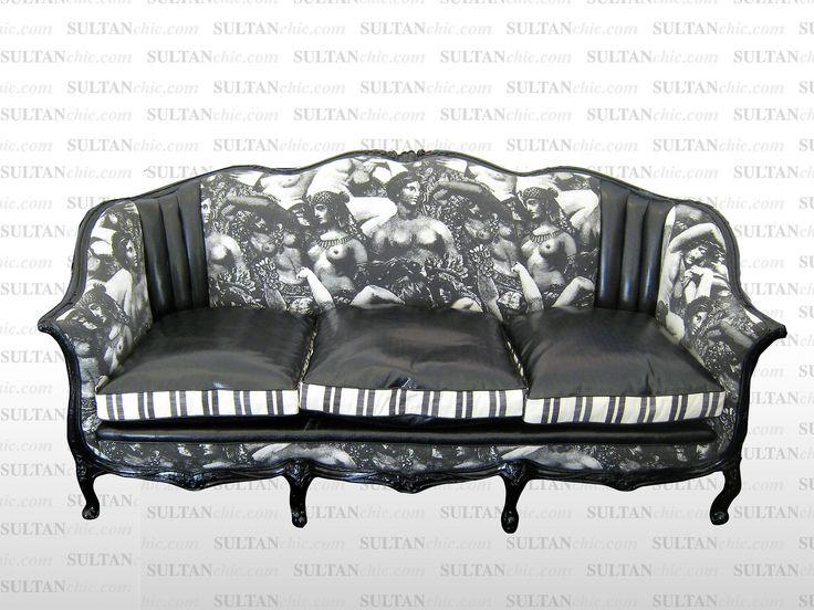 """Live Artfully is a phrase I often tell my clients…""""Comfort"""" is much more than the cushiness of a sofa, but rather the emotional and aesthetic components of design. This Victorian sofa reimagined by SULTANCHIC is a nod to the artistic expression of the female nude. The cushions are made of black snakeskin alluding to the Biblical Eve and her downfall through the allures of the snake. The imagery printed on the seat back is inspired by the """"Odalisque"""""""