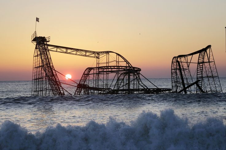 Jet Star Rollercoaster, Seaside Heights, New Jersey.  The Jet Star Rollercoaster was left submerged in the Atlantic Ocean after Superstorm Sandy in 2013. It stood rusting for six months, until it was plucked from the sea.