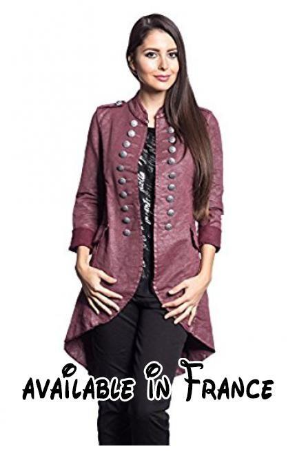 Abbino 14695 Blouson Blazer Femme Fille - Fabriqué en Italie - 6 couleurs - Été Automne Hiver Uni Longues Manches Grande Taille Chaud Vintage Classique Casual Promotion - Rouge Bordeaux - XL (40).  #Apparel #OUTERWEAR