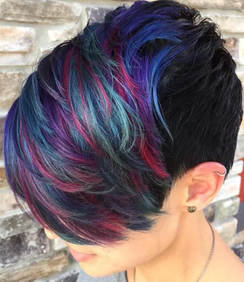 Pixie With Mermaid Highlights In Bangs