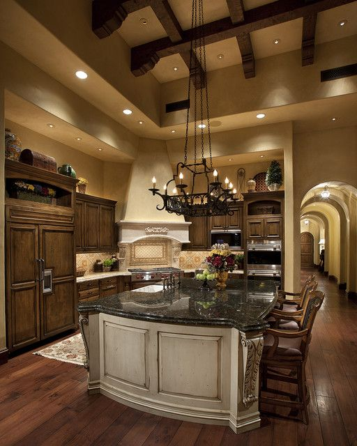 Tuscan Kitchen - mediterranean - kitchen - love the antiqued white island