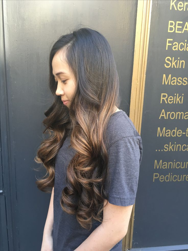 Balayage Created using L'Oréal and styled using GHD large Curve for bouncy curls on long hair