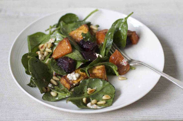 Baby spinach, roast sweet potato and beetroot salad http://simplewellnessfood.com.au/roast-beetroot-sweet-potato-baby-spinach-salad/