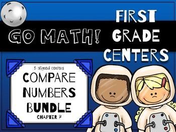 5 centers inspired by Go Math! Chapter 7: Compare Numbers for first grade. The centers cover number comparison skills, including practice with greater than, less than, and equal to symbols. Check out the preview for an up-close look, including directions for each game. Although these activities were specifically designed to support the Go Math! curriculum, they can be a useful addition to any math program. Record sheets are also included for every activity.