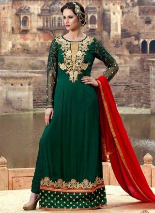 Dark Green Red Embroidery Work Georgette Santoon Long Churidar Wedding Suit #Anarkali #Churidar #Pakistani #Suit #Salwar #Bollywood http://www.angelnx.com/Salwar-Kameez