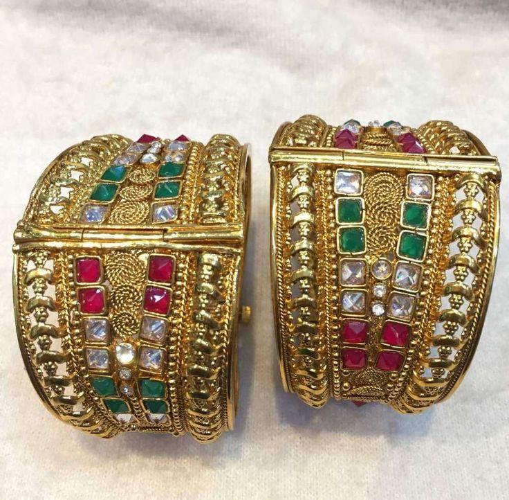 Stunning Indian Bangles Bracelet Women Kada Set Goldtone Fashion Jewelry 2.6 #Handmade #Bangle
