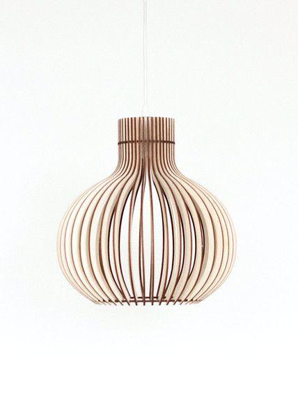 Hanglampen - 40cm Hout Lamp, hanglamp, Houten lampenkap - Een uniek product van KWUD op DaWanda