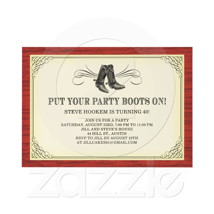 Party Boots Old Western Invitations from Zazzle.com