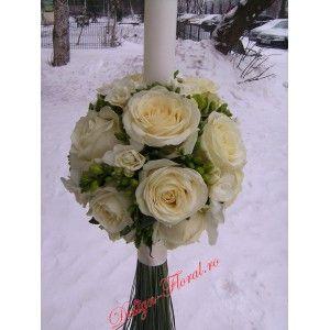 Lumanare botez frezii si trandafiri