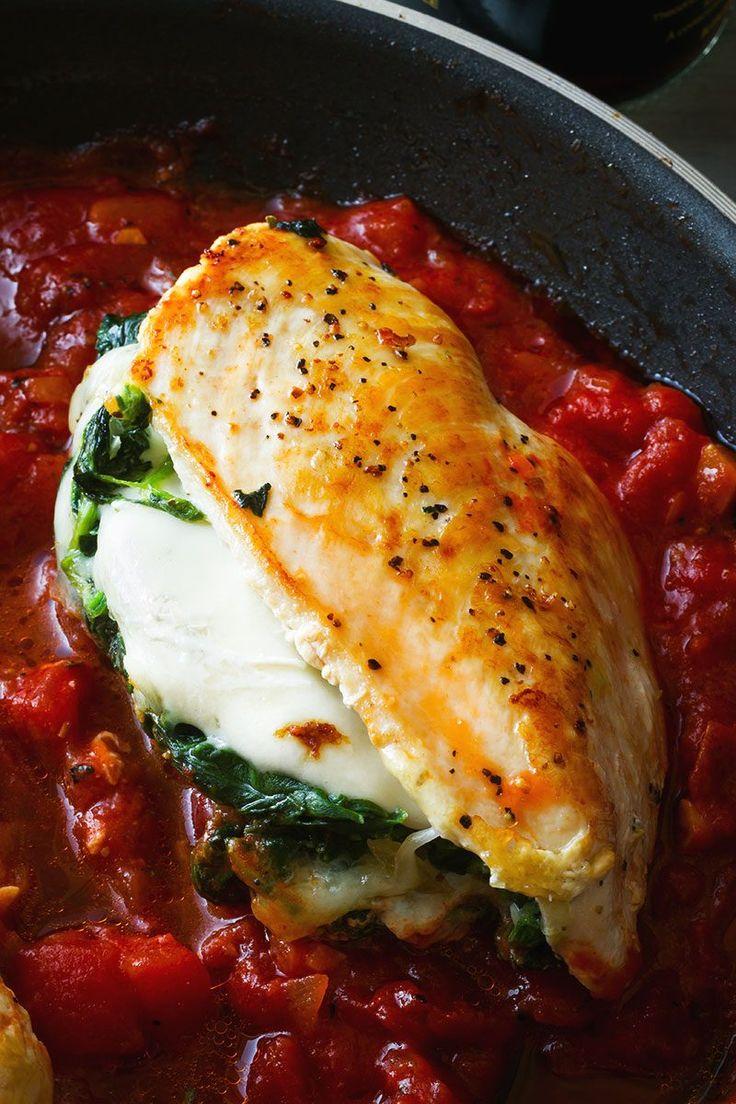 Gefüllte Hähnchenbrust mit Mozzarella & Spinat – Ernsthaft käsig und …   – FOOD