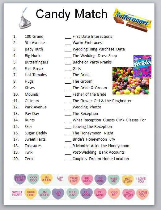 Candy Match Bridal Party Game Or Bachelorette Idea