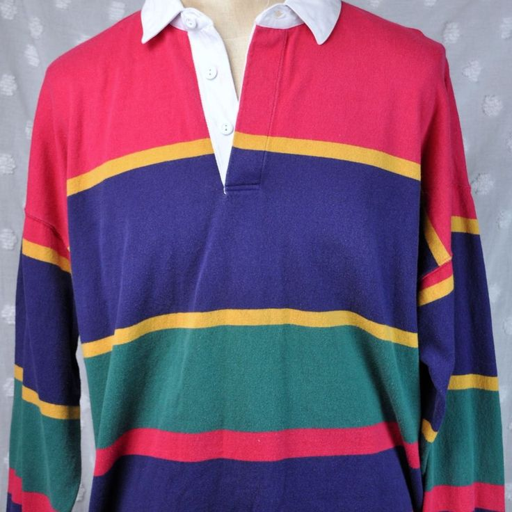 Vtg Eddie Bauer Sport Shop Seattle Classic XL Striped Mens Rugby Shirt Preppy #EddieBauer #PoloRugby